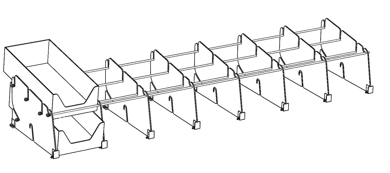 POS-T Double Tray System Riegel Zeichnung